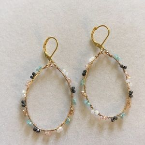 Gold Plated Wire Earrings with Tiny Crysta…